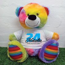 Personalised Birthday Bear with T-Shirt - Rainbow  40cm