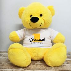 1st Birthday Personalised Bear with T-Shirt - Yellow 40cm