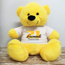 21st Birthday Personalised Bear with T-Shirt - Yellow 40cm