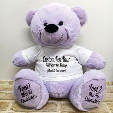 Custom Message Teddy Bear with T-Shirt Lavender 40cm