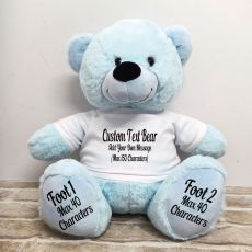 Custom Message Teddy Bear with T-Shirt Light Blue 40cm