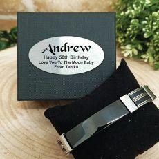 50th Birthday ID Link Bracelet In Personalised Box