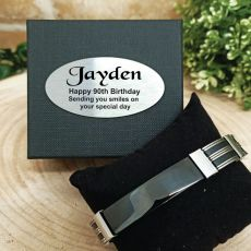 90th Birthday ID Link Bracelet In Personalised Box