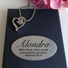 Butterfly Heart Urn Cremation Ash Necklace In Personalised Box