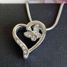 Butterfly Heart Urn Cremation Ash Necklace