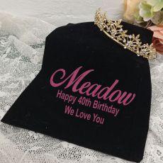 40th Birthday Gold Vine Tiara in Personalised Bag