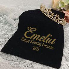 Birthday Gold Vine Tiara in Personalised Bag