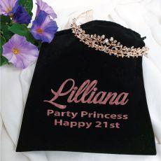 21st Birthday Alyssa Tiara Rose Gold in Personalised Bag