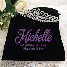 21st Birthday Large Crystal Tiara in Personalised Bag