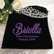 50th Birthday Large Crystal Tiara in Personalised Bag
