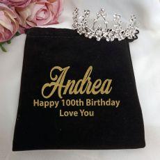 100th Birthday Medium Floral Tiara in Personalised Bag