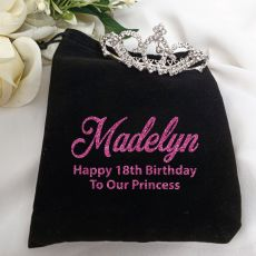 18th Birthday Medium Crystal Tiara in Personalised Bag