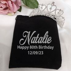 80th Birthday Medium Heart Tiara in Personalised Bag