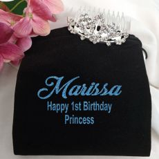 1st Birthday Small Flower Tiara in Personalised Bag
