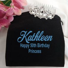 50th Birthday Small Flower Tiara in Personalised Bag