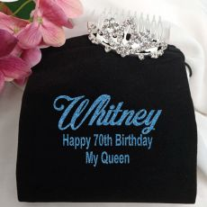 70th Birthday Small Flower Tiara in Personalised Bag
