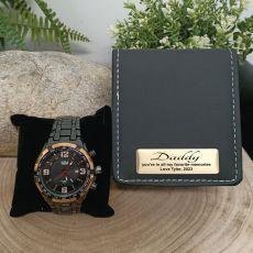 Dad Black & Gold Bracelet Watch Personalised Box