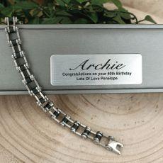 40th Birthday Mens Stainless Steel Link Bracelet