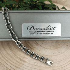 Best Man  Stainless Steel Link Bracelet Gift Boxed