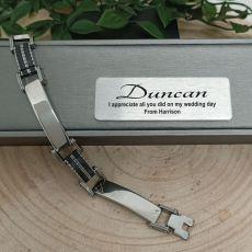 Groomsman Mens Stainless Steel & Black Bracelet