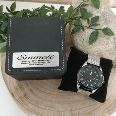60th Birthday Watch Gunmetal 44mm Mesh Personalised Box