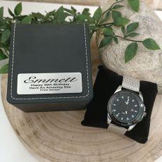 90th Birthday Watch Gunmetal 44mm Mesh Personalised Box