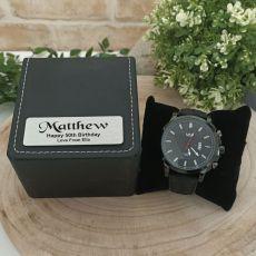 50th Birthday Watch 48mm Black Dresden Personalised Box