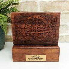 21st Flower Of Life Carved Wooden Trinket Box