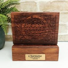 40th Flower Of Life Carved Wooden Trinket Box