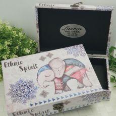 21st Birthday Boho Elephant Personalised Trinket Box
