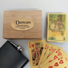 80th Birthday Gold Playing Cards In Wooden Box