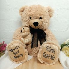 Nana Bear & Baby Bear Personalised Plush - Black