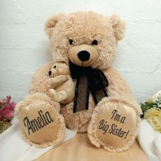 Personalised Sister Teddy Bear with Black Bow