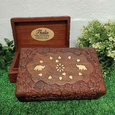 60th Birthday Gold Inlay Elephant Wood Trinket Box