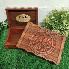 Personalised Carved Flower of Life Wood Trinket Box