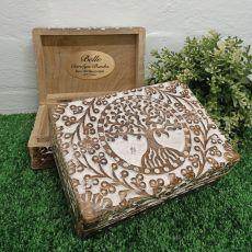 Newborn Tree Of Life Boho Carved Wooden Box