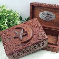 21st Birthday Carved Wooden Trinket Box - Star & Moon