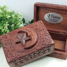 Personalised Carved Wooden Trinket Box - Star & Moon