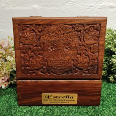 16th Birthday Carved Wooden Trinket Box Skull