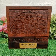 Aunt Carved Mandala Wood Trinket Box