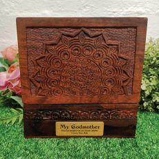 Godmother Carved Mandala Wood Trinket Box