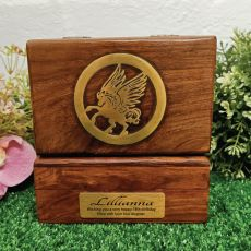 18th Unicorn Gold Inlay Wood Trinket Box