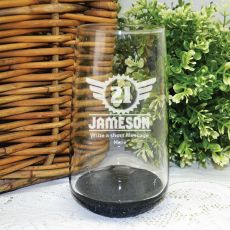 21st Birthday Engraved Personalised Glass Tumbler (M)