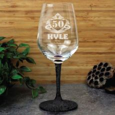 50th Birthday Engraved Personalised Wine Glass 450ml (M)