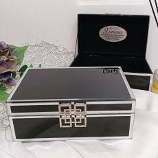 18th Birthday Black Glass Jewel Box w/Silver Edge