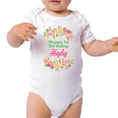 Personalised 1st Birthday Bodysuit - Floral