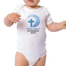 Personalised Baby Boy Christening Bodysuit