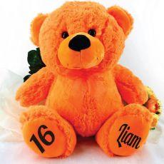 Personalised 16th Birthday Teddy Bear 40cm Plush  Orange