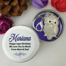 Personalised Birthday Diamante Owl Keyring Gift
