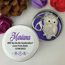 Personalised Godmother Diamante Owl Keyring Gift